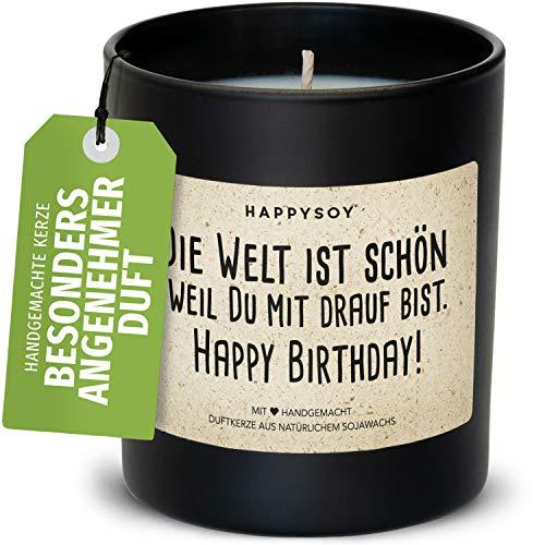 Happy Birthday Duftkerze im Glas mit Spruch aus Soja - 100% natürlich handgemacht, nachhaltig persönlich Geschenk Geschenkidee beste Freundin Freund Mama Papa Birthday Freude Liebe Glück verschenken
