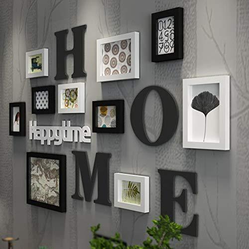MUZIDP Massivholz Foto-Rahmen-Wand,Vintage Kreativ Bilderrahmen Set Home Office Multi-Bild Foto-Wand-Kombination-A