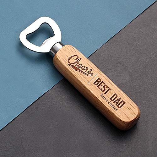 Personalisierter Flaschenöffner aus Holz mit der Gravur (Ihr Design) Geschenk für ihn Junge Papa Opa