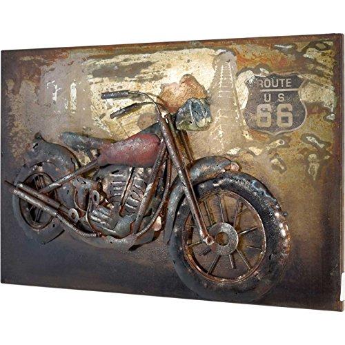 MÖBEL IDEAL 3D Metallbild Motorrad Wandbild 60 x 40 x 5 cm Bild aus Metall in Handarbeit