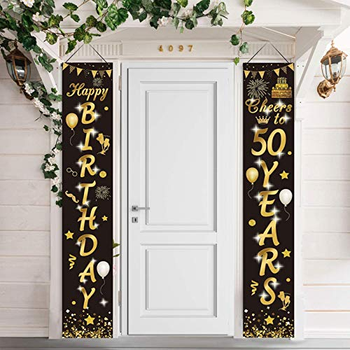 50.Geburtstag Party Dekorationen Schwarz und Gold,50.Geburtstagsdeko Alles Gute zum Geburtstag Banner, Prost auf 50 Jahre Banner Willkommen Veranda Zeichen für Männer Frauen 50. Geburtstagsdeko