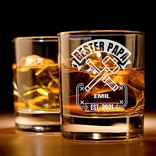 Personalisiertes Whisky-Glas mit Gravur für den Vatertag   Papas Werkzeugkasten   Whiskey-Glas mit Wunsch-Namen   Papa Geschenk für Männer   Hochwertiges Glas Geschenk-Idee