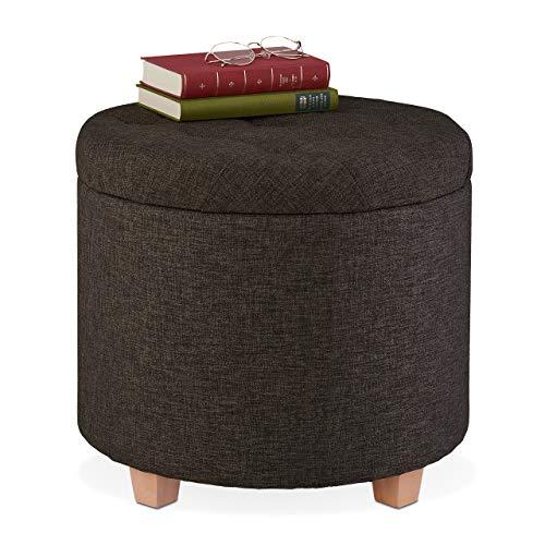 Relaxdays Sitzhocker mit Stauraum, gepolsterter Hocker rund, für Wohnzimmer, Leinen-Optik, H x D: 41 x 44 cm, braun