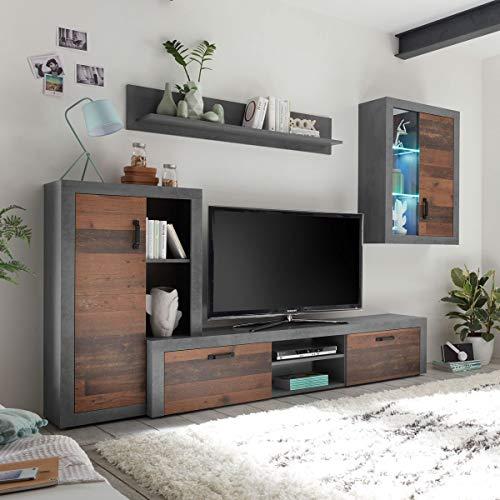 Möbel Akut Wohnwand Team Matera grau Old Wood Vintage Anbauwand Schrankwand Wohnzimmer