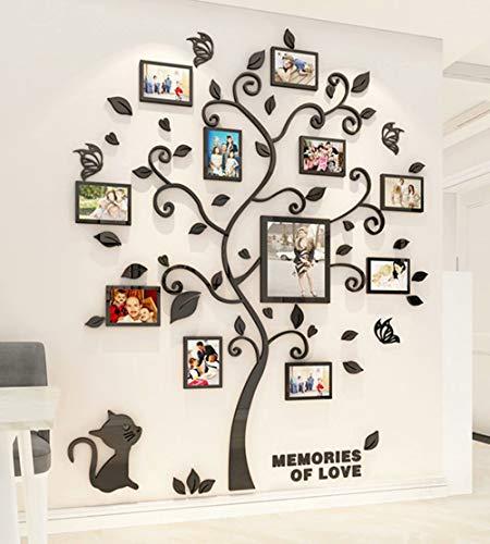 Wandaufkleber Baum Wandtattoo 3D DIY Familie Bilderrahmen Foto Sticker Familie Wandbilder Wandkunst für Hause Wohnzimmer Schlafzimmer Kinderzimmer Kindergarten (Schwarz,M-160 * 132cm)