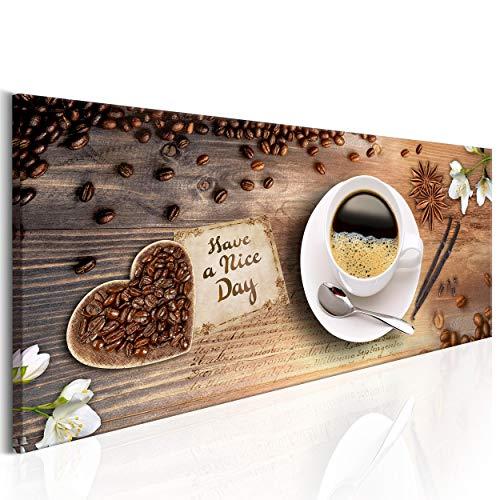 decomonkey Bilder Kaffee Küche 120x40 cm XXL 1 Teilig Leinwandbilder Bild auf Leinwand Vlies Wandbild Kunstdruck Wanddeko Wand Wohnzimmer Wanddekoration Deko Kochen Caffe Herz Blumen