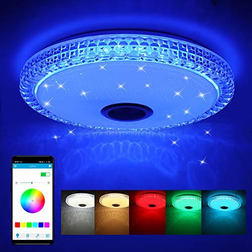 Frontoppy 72W LED Deckenleuchte mit Bluetooth Lautsprecher, Fernbedienung oder APP-Steuerung, Farbwechsel-Option, 4300 Lumen Ø40cm Dimmbare Deckenleuchten für Wohnzimmer丨Kinderzimmer丨Schlafzimmer