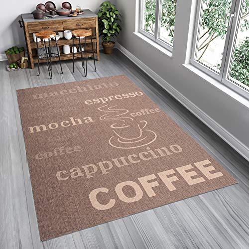 Tapiso FLOORLUX Teppich Sisal Optik Flachgewebe Strapazierfähig Braun Beige Schrift Buchstaben Coffee Muster Designer Küche 120 x 170 cm