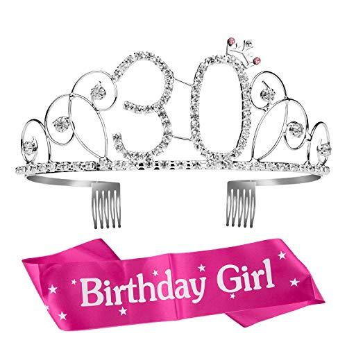 ZOEON Geburtstags-Krone 30. Geburtstags Kristall Tiara Krone mit Geburtstags-Schärpe