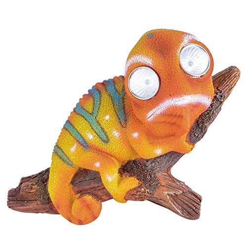 RM E-Commerce Gartendeko Figur Chamäleon mit Solar Augen LED Gartenfigur Beleuchtung
