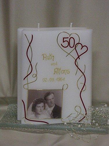 Kerze zur goldenen Hochzeit ♥ Hochzeitskerze ♥ inkl. Namen, Datum und Foto ♥, J 13