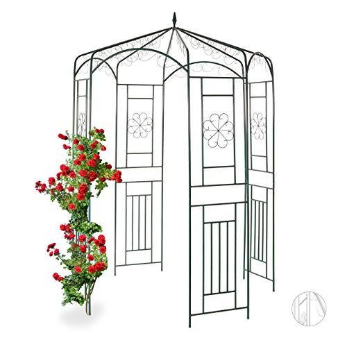 Relaxdays Rosenpavillon Metall, Rankhilfe für Kletterpflanzen, Garten, dekorativer Rankpavillon, HBT 250x160x160cm, grün