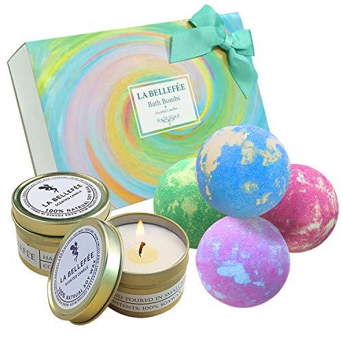 LA BELLEFÉE Badebomben Geschenkset mit Duftkerzen, Natürliche Badekugeln für Entspannen (4 x 112g Badebomben + 2 x 90g Sojawachs Duftkerzen)