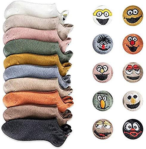 Yidarton Damen Socken Baumwolle Komfortabel Netter Cartoon Bestickte Lustig kurz Frauen Socken (A-5 Paar)