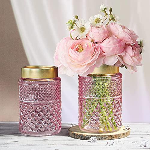 HOMMAX Vase, 2er Set Glas Vasen, Handgefertigte Blumenvase in Rosa, H20 cm D12 cm, als schönes Accessoire für Wohnzimmer, Küche, Tisch, Zuhause, Büro, Hochzeit, Herzstück oder als Geschenk