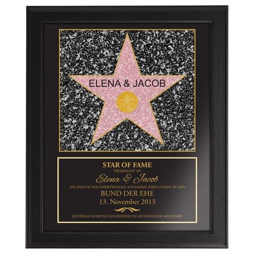 Star Of Fame zur Hochzeit – Hollywood Stern – Urkunde - Personalisiert mit Namen und Datum - Druck gerahmt - Wanddeko im dunklen Bilderrahmen – Originelles Hochzeitsgeschenk – ca. 35 x 45 cm