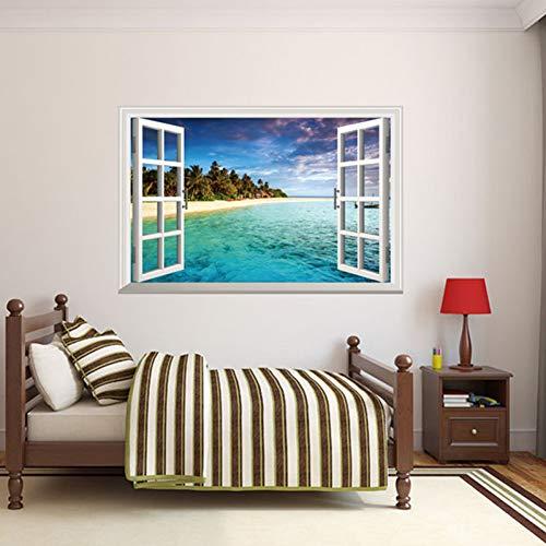 MMLXHH Wandaufkleber Gefälschte Fenster Strand Insel Wandaufkleber für Wohnzimmer Kinder Schlafzimmer Dekoration DIY Wolken Wandtattoos