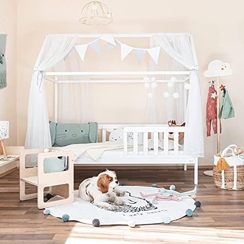 Alcube Hausbett 80x160 cm - Mit Matratze und Deko-Set Stabiles Kinderbett 160x80 cm mit Rausfallschutz und Lattenrost - weiß lackiert - für Jungen und Mädchen