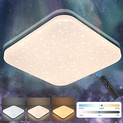 LED Deckenleuchte Dimmbar 24W, Oeegoo 2050Lm Sternenhimmel Deckenlampe mit Fernbedinung, 3000K-6500K Stufenlos dimmbar Sternenlicht als Schlafzimmerlampe, Kinderzimmerlampe, Nachtlicht