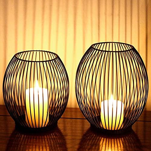 Kerzenständer, Oval Kerzenhalter 2er Set, Metall Laterne Kerzenständer, Kreativ Modern Eisen Kerzenleuchter, Vintage Kerzen Ständer für Wohnzimmer Schlafzimmer, Esstisch Deko Tischdeko, Schwarz