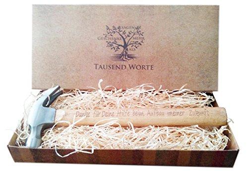 Vatertagsgeschenk , Geschenk für Väter : Gravierter Holzhammer : Danke für Deine Hilfe beim Aufbau meiner Zukunft - Du bist der Hammer - Besonderes Geburtstagsgeschenk für Männer