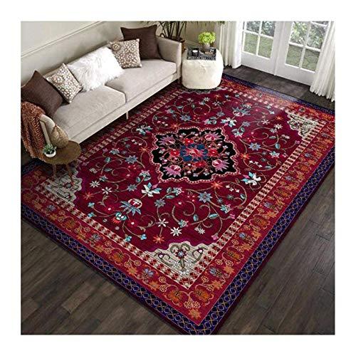 Siunwdiy Rutschmatte Teppich Klassisch Vintage Orientalische Blumen Dunkelrot Teppich Wohnzimmer Traditioneller Salon Rechteckig Teppiche Waschbar,120X160cm(47X63inch)