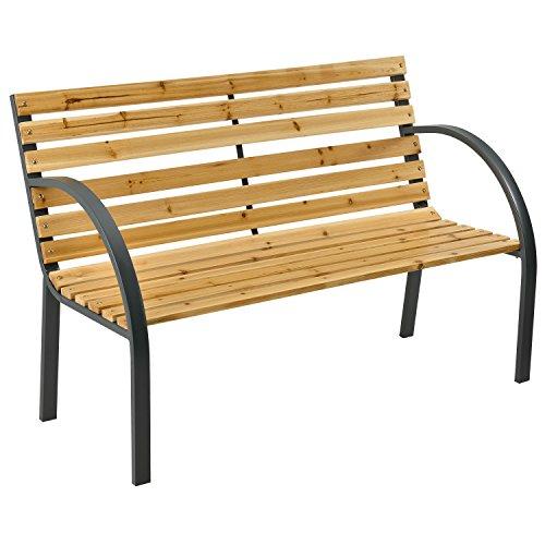 ArtLife 2-Sitzer Gartenbank Modena aus lackiertem Holz & Stahl | Rückenlehne + Armlehnen | Sitzbank Holzbank Gartenmöbel
