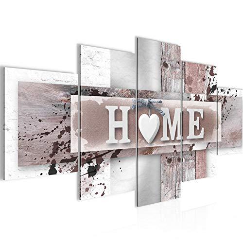 Bilder Home Herz 5 Teilig Bild auf Vlies Leinwand Deko Wohnzimmer Mit Spruch Grau Rosa 504552b