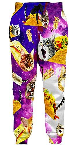 Loveternal Unisex Hosen Lustige Titanic Katze Coole Graphric Jogginghose Casual Baggy Sweatpants für Frauen Männer M