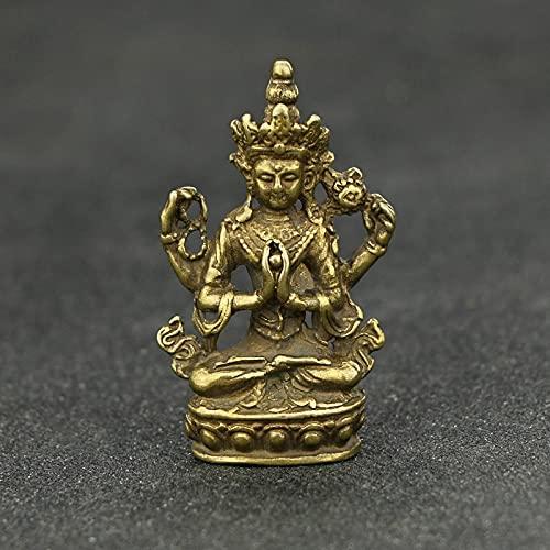 HaiFiy Antike Kupfer Buddha Figur Wohnkultur Zubehör Für Wohnzimmer Kleine Ornamente Nostalgie Messing Schreibtisch Miniatur Figuren Überraschungsgeschenk (Color : Buddha Statue)