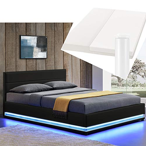 ArtLife Polsterbett Toulouse 180x200 cm – Bett mit Matratze, Lattenrost, Kopfteil, LED & Stauraum – Modernes Bettgestell - Bezug Kunstleder in Schwarz