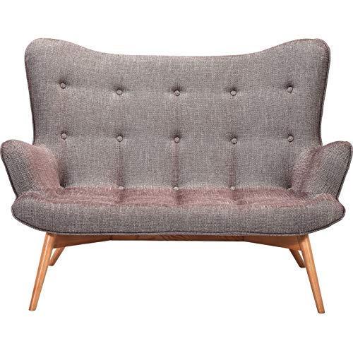 Kare Design Sofa Angels Wings Rhythm 2er Sitzer, moderner Couchsessel im Retrodesign, kleine Einzelsofas Stoff, Braun (H/B/T) 93x132x99cm