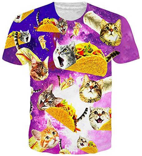 Loveternal Unisex Pizza Katze T-Shirt 3D Muster Gedruckt Lustige Casual Grafik Kurzarm Tops Tees M