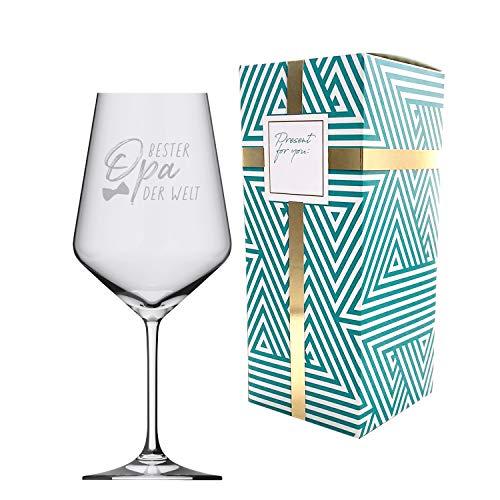 3forCologne   Weinglas aus hochwertigen Kristallglas   Souvenir Deutschland   Geschenkidee Muttertag, Vatertag, Gastgeschenk   Geschenkbox mit Textfeld   MADE IN GERMANY, Größe:bester Opa