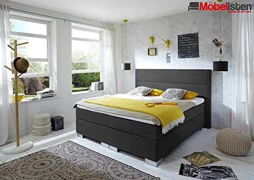 Möbelisten I Boxspringbett mit Quersteppungen am Kopfteil in 200x210 cm in Anthrazit Stoff I Kaltschaum Topper I Härtegrad H2 I 7 Zonen Taschenfederkern Matratze I Made in Germany