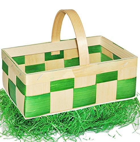 alles-meine.de GmbH Set _ Ostergras & 3 Bastkörbe / Bastkörbchen - MITTEL - grün & Natur - z.B. Blumenstreukörbchen / Körbchen - als Deko z.B. für Osterei / Ei zum befüllen - Wei..