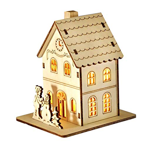 LED Holz Rathaus Haus Weihnachten Winter Beleuchtung Fenster Deko Weihnachtsdeko