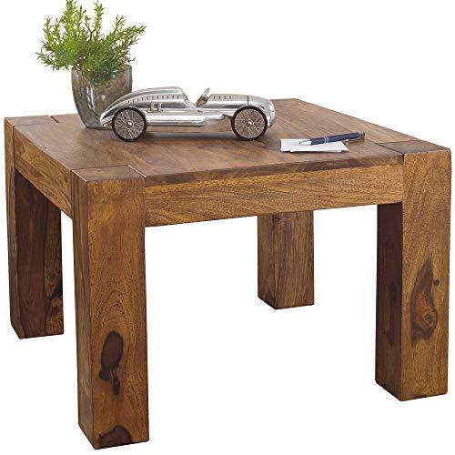 FineBuy Massiver Couchtisch PATAN 60 x 60 x 40 cm Sheesham Holz Massiv   Wohnzimmertisch Quadratisch Braun   Beistelltisch Massivholz   Design Holztisch Wohnzimmer