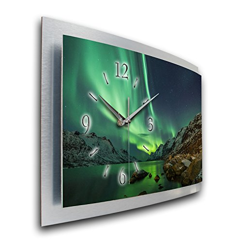 Kreative Feder Wanduhr Polarlicht Naturwunder 3D XXL Designer leise Funk Motiv Funkuhr Wandbild modernes Design WAA054FL (50x30cm)