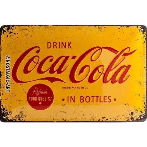 Nostalgic-Art 22228 Coca-Cola - Logo Yellow | Retro Blechschild | Vintage-Schild | Wand-Dekoration | Metall | 20x30 cm