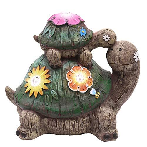 TERESA'S COLLECTIONS Schildkröten Gartenfiguren LED Solarlampe Gartendekoration aus Kunstharz 17cm Wasserfest Schildkröte Figur Tier Gartendeko für Außen Fairy Balkon Hof