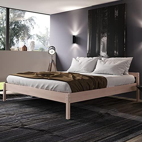 Holzbett 200x200 cm Kaja Scandi Style aus unbehandeltem hartem FSC Birken Massivholz - über 700 kg - Doppelbett Bettgestell mit Kopfteil - Ehebett