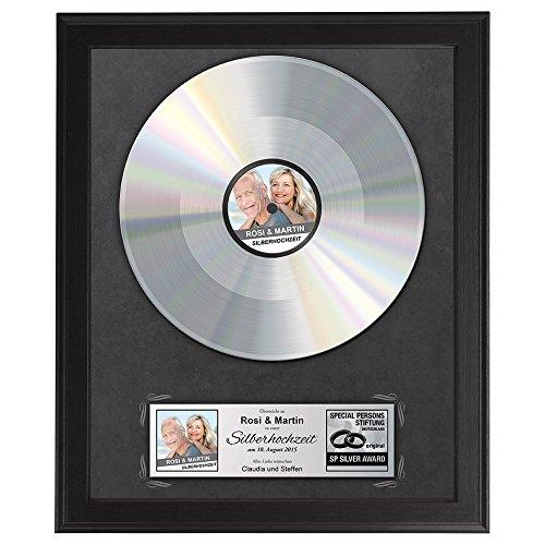 Casa Vivente Silberne Schallplatte zur Silberhochzeit, Personalisierte Urkunde zum 25. Hochzeitstag mit Namen, Datum und Foto