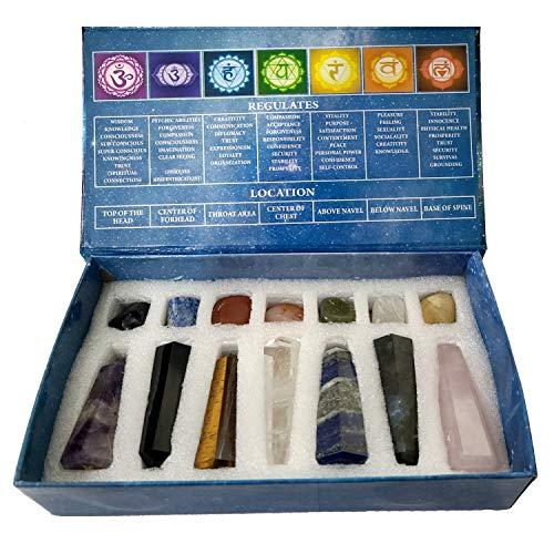 KACHVI Kristalle und Heilsteine Set Kristallgeschenke Heilkristalle Set Meditation Spirituelle Geschenke für Reiki Yoga Energie Alle 7 Chakra Zauberstäbe und Tumbled Set 14-teiliges Set