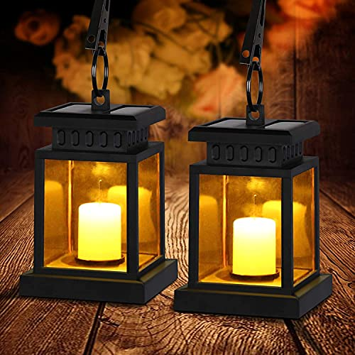 2PCS Solar Laterne, Solarlaterne mit Kerzen Lichteffekt, Solarlampe für Außen Gartendeko Solar Gartenlaterne in Kerzenoptik