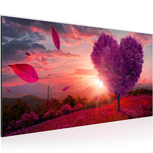 Wandbilder Herbst Baum Herz 1 Teilig Modern Vlies Leinwand Wohnzimmer Flur Landschaft Lila Violett 605812b