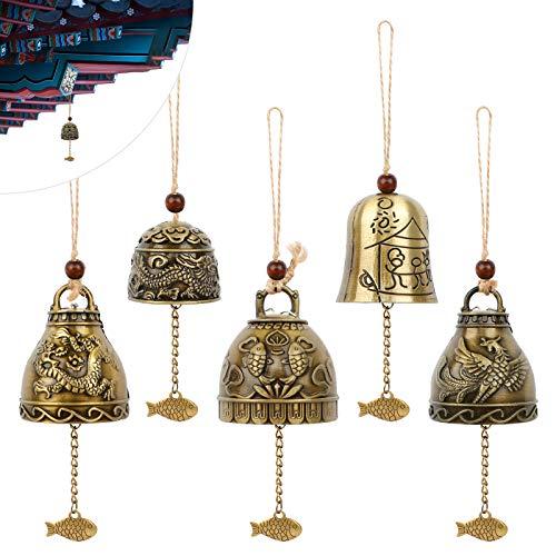 Feng Shui Chimes 5 Pcs Segen Glocke Campanula Windspiel Bless Wind Chime Fengshui Glocken Buddha Windspiele Phoenix Wind Chimes Metal für Hausgarten Hängen Glück Segen