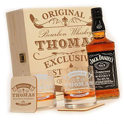 polar-effekt Whisky Geschenk-Set mit Gravur 6-TLG, Jack Daniels No.7, Whisky-Geschenkbox, 2 Whiskygläser, 2 Untersetzer, Motiv: Original-Exklusive