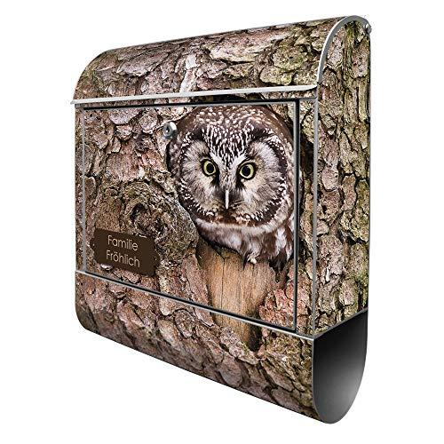 Banjado Design Briefkasten personalisiert mit Motiv Eule   Stahl pulverbeschichtet mit Zeitungsrolle   Größe 39x47x14cm, 2 Schlüssel, A4 Einwurf, inkl. Montagematerial