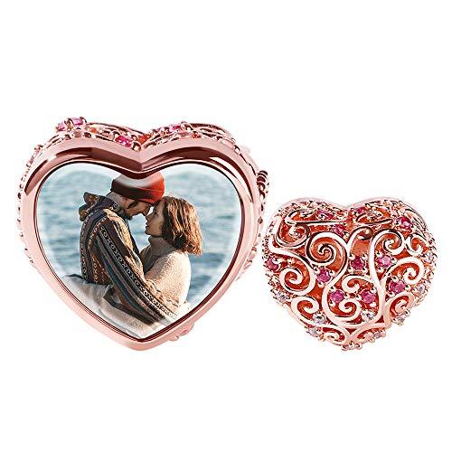 GNOCE Personalisiert Foto Charm Damen Bead Anhänger 925 Sterling Silber Mit Zirkonia 18K Rose Gold Perlen Charms für Armbänder Halsketten (Stil-1)